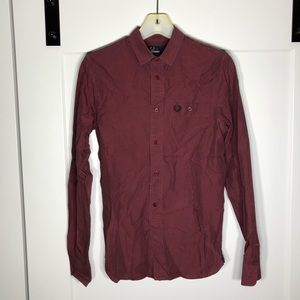 Fred Perry Button Down XS Burgundy Authentic